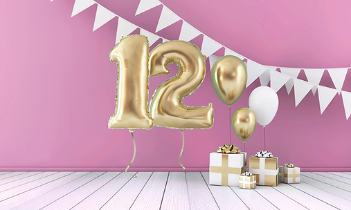 12 birthday balloons and presents