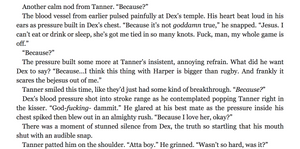 """A Scene from Playing It Cool, where Dex's captain helps him figure out he really loves Harper. Dex says how he feels, Tanner says, """"BECAUSE?"""", and finally Dex blurts out that he loves her."""