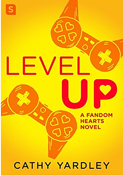Level Up by Cathy Yardley. This cover is kind of cute. It has a yellow background with video game controllrs, but they kind of also look like bras. Maybe that's just me.