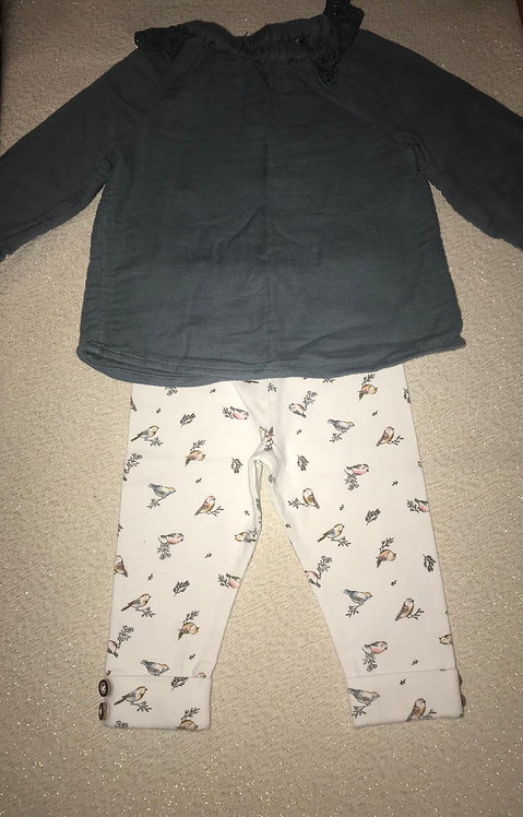 Blue/green jumper with white leggings- bird print 3-6 months