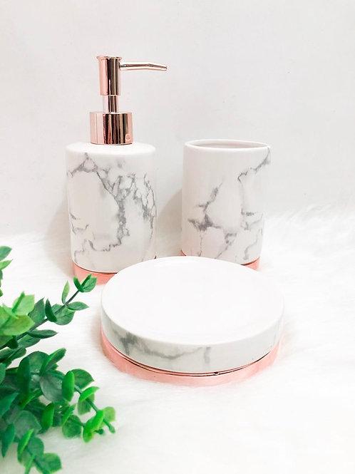 Kit De Banheiro Mármore e Rose Gold