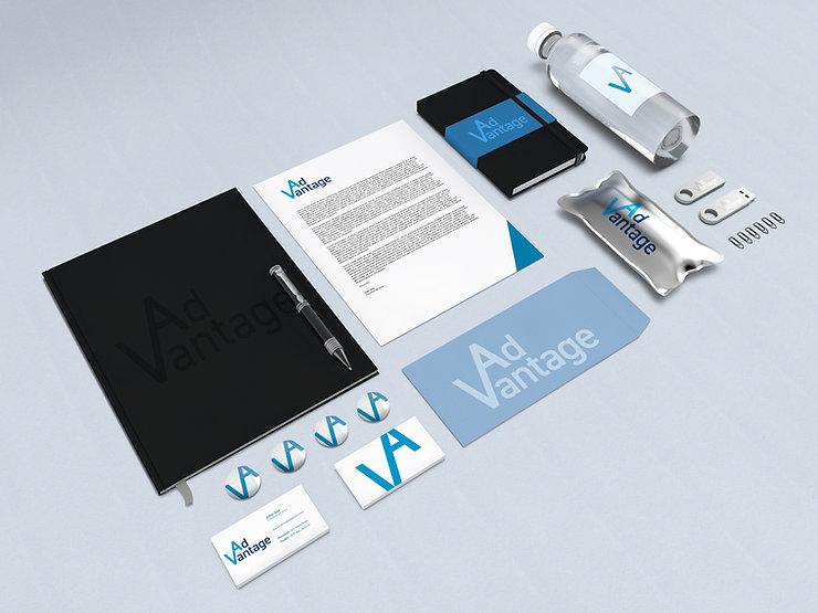 Mock-up of AdVantage branded stationery