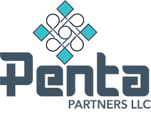 Penta's logo. Says Penta Partners LLC with a stylized diamond placed above it.