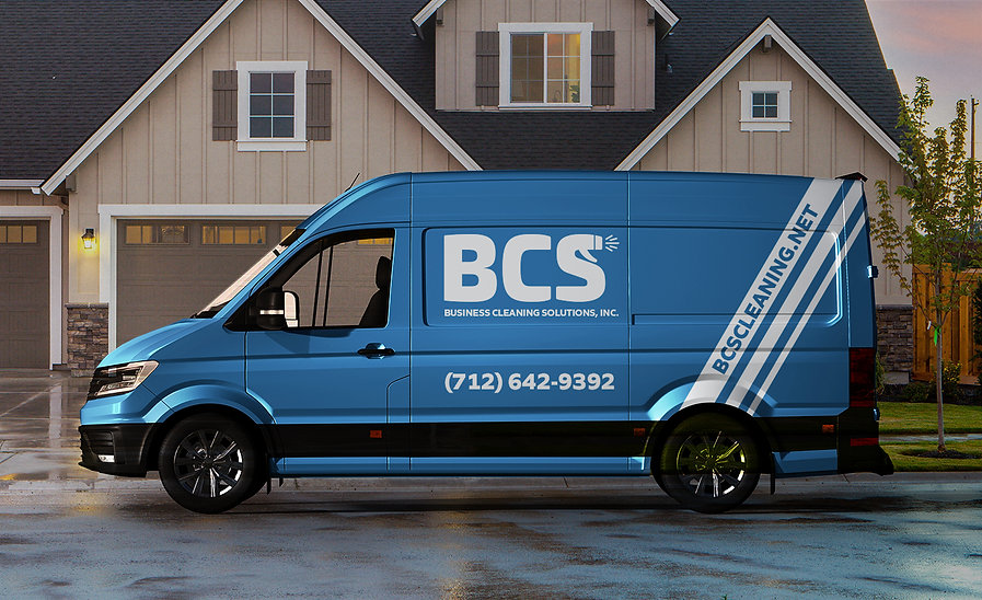 Mock-up of a BCS branded van with the logo and phone number and white streaks for a clean effect
