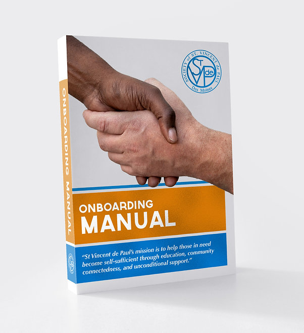 Mock-up of the cover of Saint Vinny's Onboarding manual cover