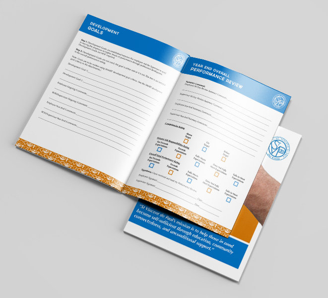 Mock-up of the layout design of Saint Vinny's onboarding manual