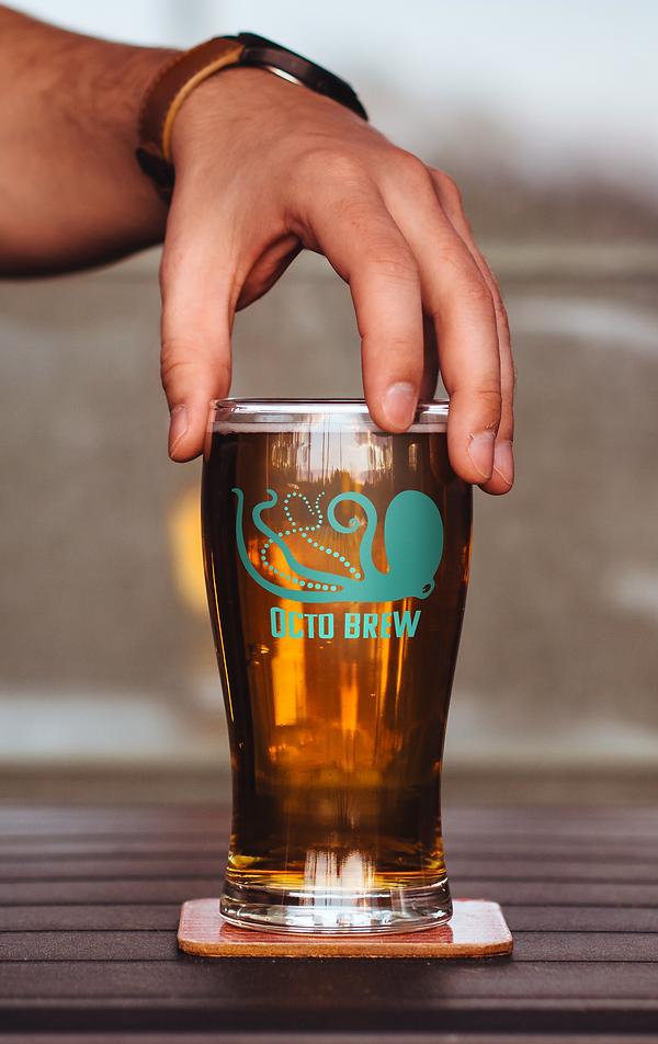 Mock-up of Octo Brew branded merchandise
