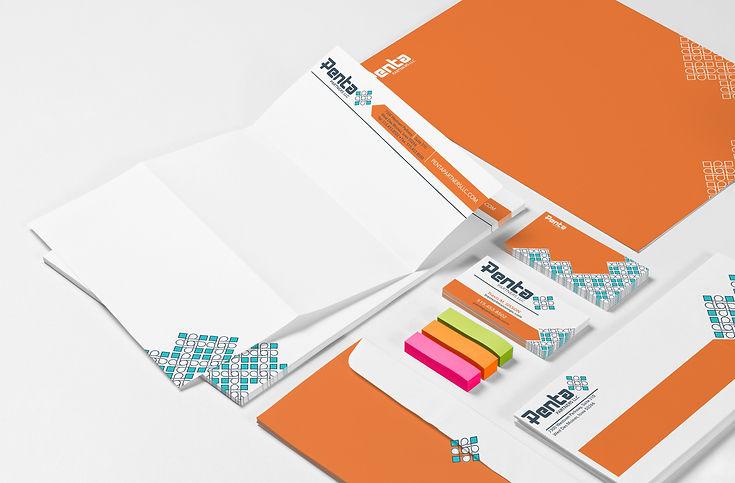 Mock-up of Penta branded stationery