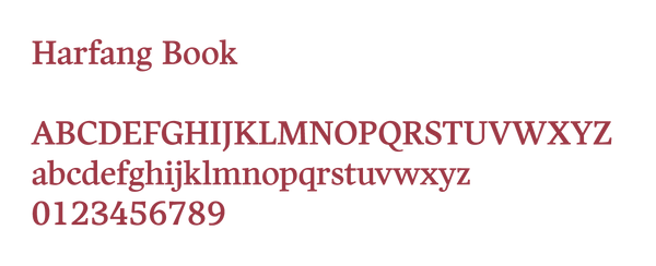 Example of Harfang Book typeface