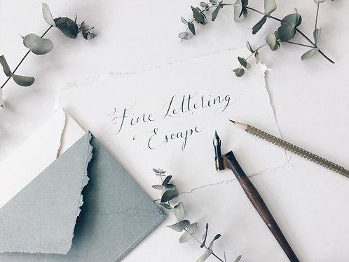 moderne Kalligraphie, fine lettering escape, auszeit
