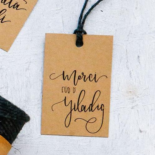 «Merci für d'Yiladig» - Fine gift tag | Geschenkanhänger (5 Stk.)