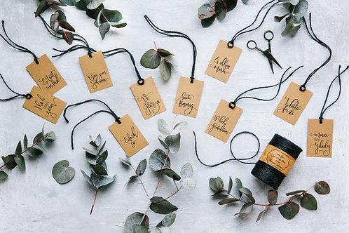 Set B - Fine gift tag  | Geschenkanhänger (assortiert, 5 Stk.)