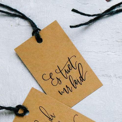 «Es tuet mr leid» - Fine gift tag | Geschenkanhänger (5 Stk.)