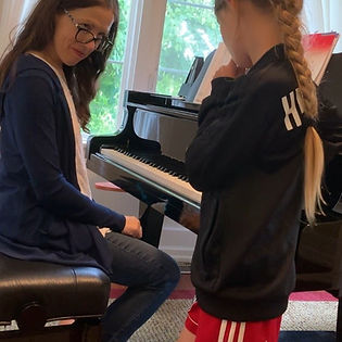 Piano Teacher Stephanie Emery and student in a piano lesson in Thousand Oaks CA 91360