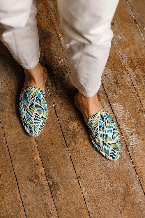 Pointed Toe Leaf Print Loafers Espadrilles DIY Kit Women
