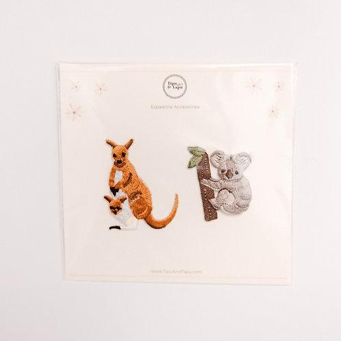 Kangaroo & Koala Embroidered Iron-On Patches