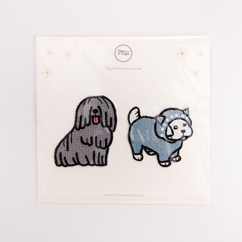 Funny Grey Dogs Embroidered Iron-On Patches