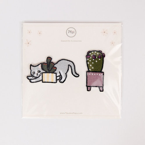 Cat & Cactus Embroidered Iron-On Patches