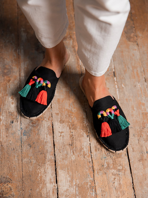 Black Loafers with Colorful Tassels Women