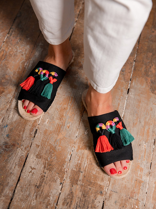 Black Slippers with Colorful Tassels Women