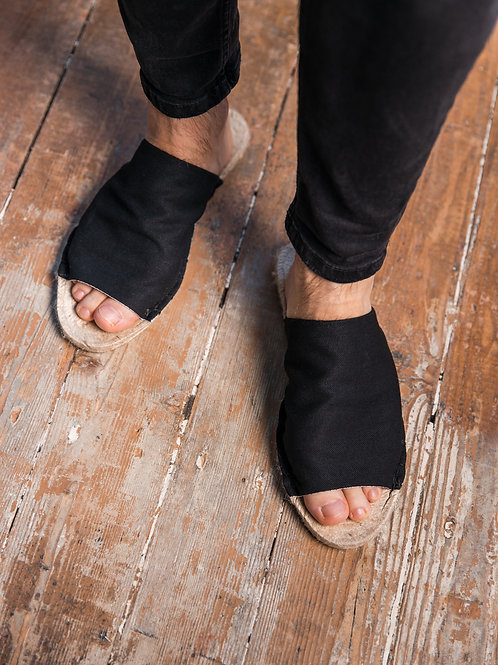 Black Slippers Espadrilles Men