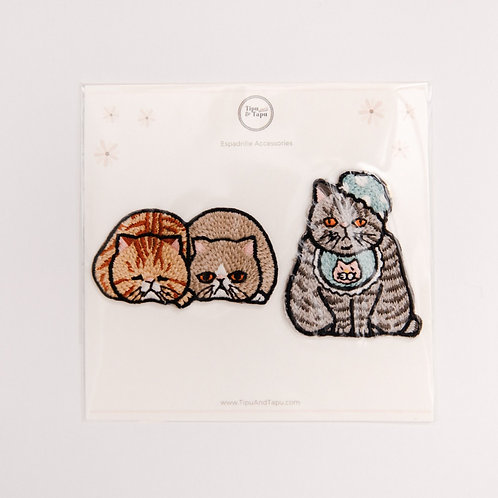 Funny Grey Cats Embroidered Iron-On Patches