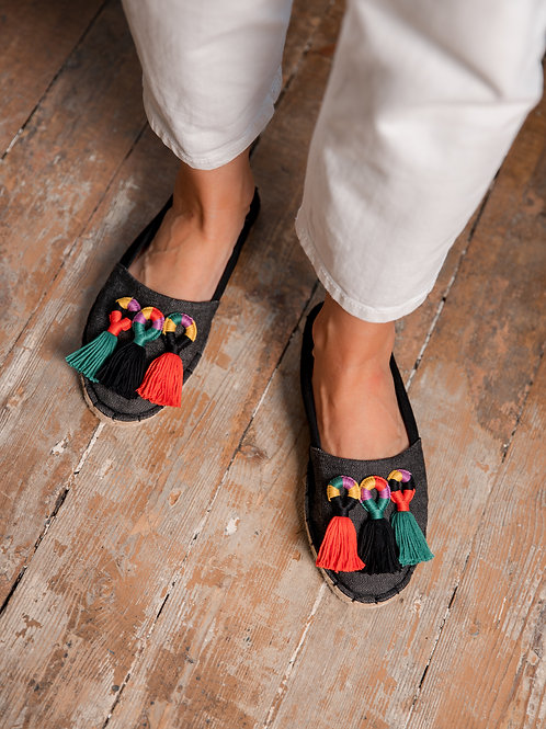 Black Espadrilles with Colorful Tassels Women