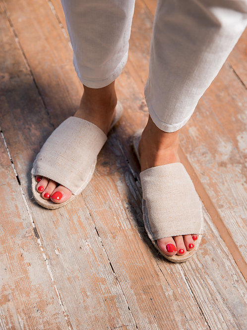 Beige Slippers Espadrilles Women