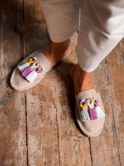 Beige Loafers with Tassels Women