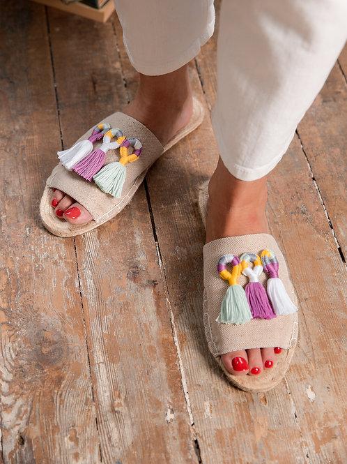 Beige Slippers with Tassels Women