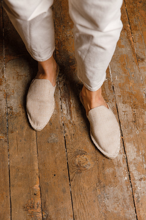 Pointed Toe Beige Loafers Espadrilles DIY Kit Women