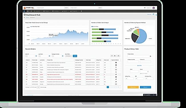 Screenshot of dynamic hub dashboard