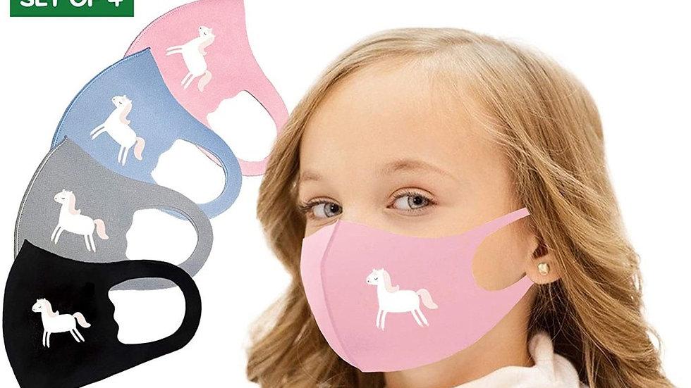 4Pcs Cartoon Horse Print  Mask Children  Mouth Cover Reusable