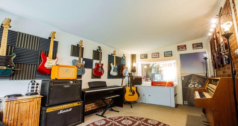 Recording studio piano and guitars