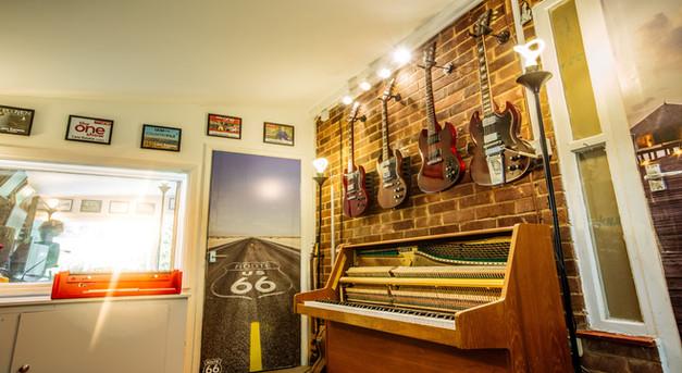 Recording studio upright piano