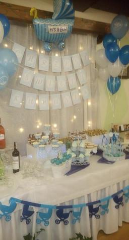 Słodki stół, chrzest, dla dzieci, błękitny, niebieski, dla chłopca