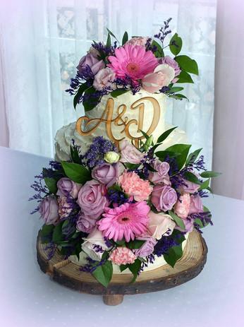 Tort ślubny, weselny, rustykalny, kwiatowy, boho