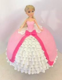 Tort dla dziewczynki z lalką Barbie
