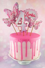 Tort urodzinowy, drip cake, toppery z pierniczków