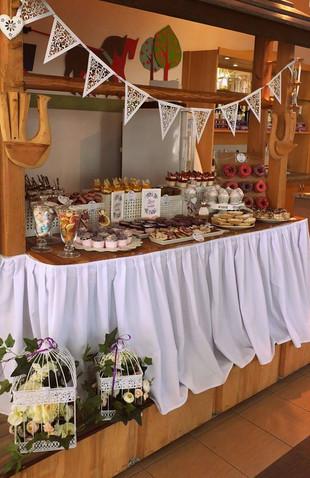 Słodki stół rusykalny, candy bar, boho