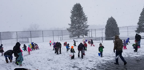 Easter Egg Hunt in the Snow