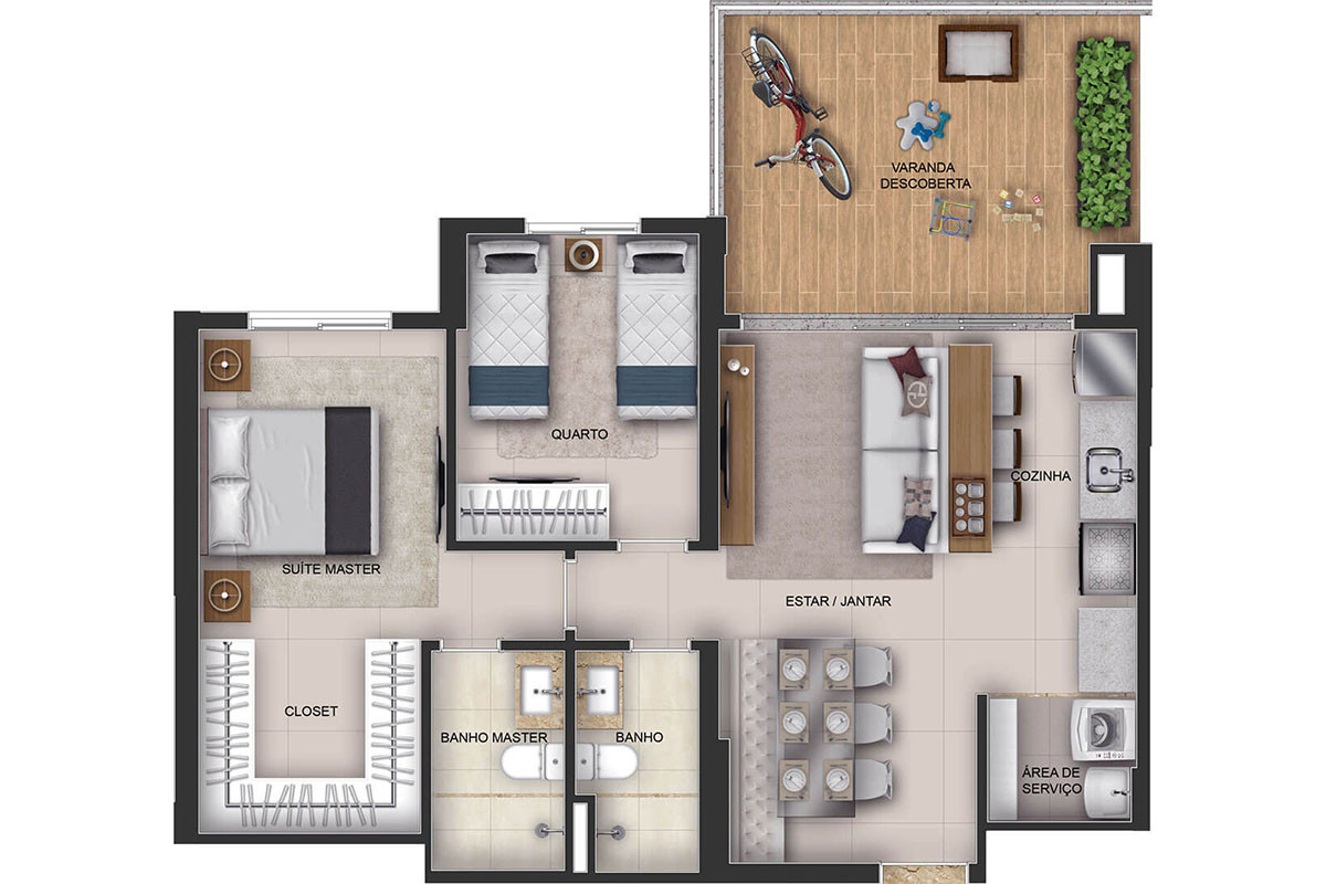 Apto Casa - 2 Qts - 80m²