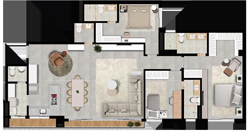 Planta Apto 140m² - Cozinha aberta