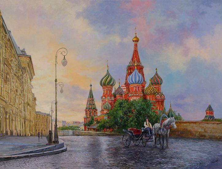 Утро над Москвой 60х80
