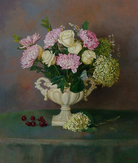 Цветы в белой вазе 50х60