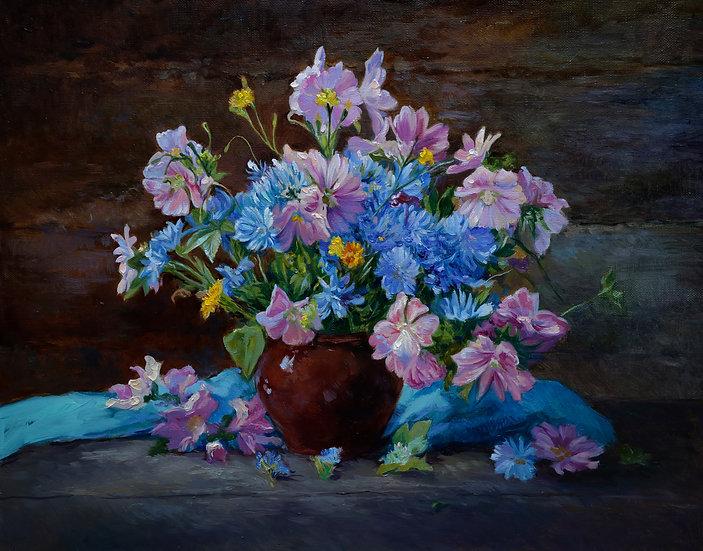 Летние цветы 40х50