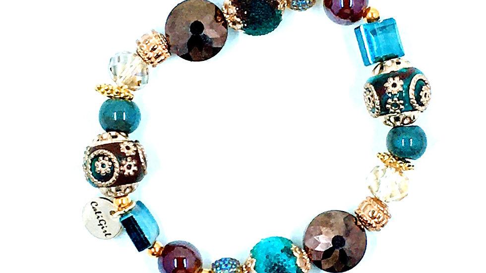 Sapphire and Bronze Stretch Boho Bracelet