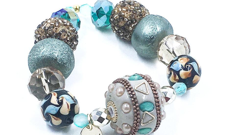 Sistine Blue Boho Handmade Stretch Bracelet