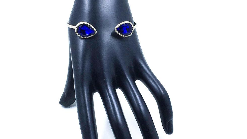 Double Blue Teardrop Bangle Bracelet