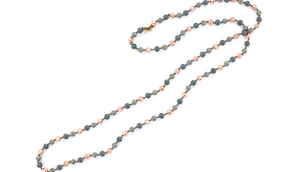 Grey Hematite Beaded Necklace with Metallic Copper Colored Beads